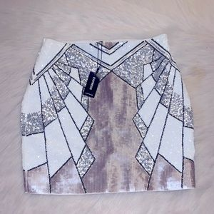NWT Express Mulit-Color Sequin Body Con Mini Skirt